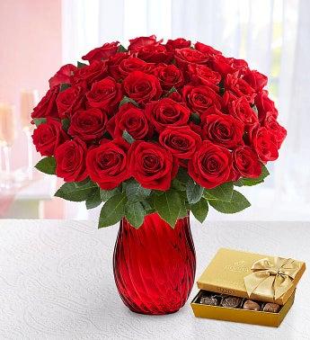 Three Dozen Romantic Red Roses