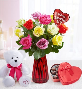 One Dozen Assorted Roses for Romance