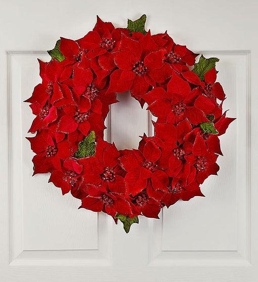 Glistening Poinsettia Wreath-20