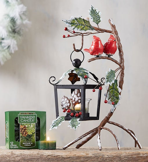 Snowy Cardinal Lantern & Yankee Candle Tealights