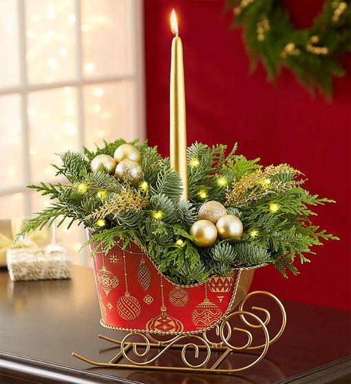 Classic Christmas Evergreens Sleigh