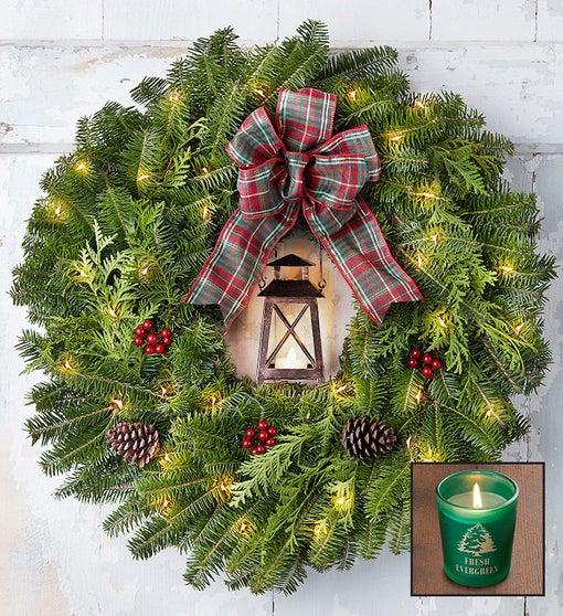 Rustic Lantern Wreath + Free Candle
