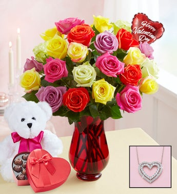 Two Dozen Assorted Roses with Heart Necklace