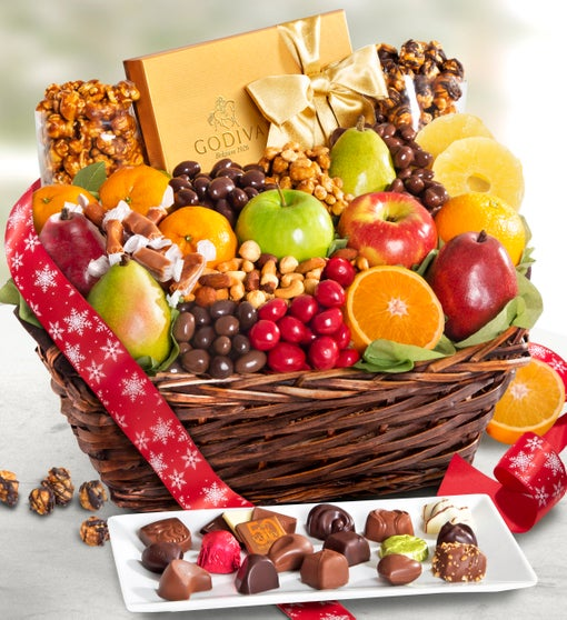 Exclusive Godiva, Fruit, & Sweets Holiday Basket