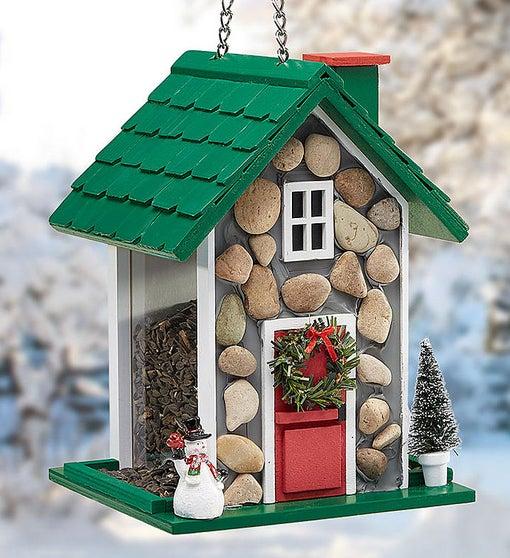 Festive Holiday Fieldstone Birdfeeder With Seed