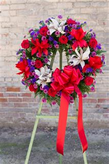 Bow Wreath Standing Spray