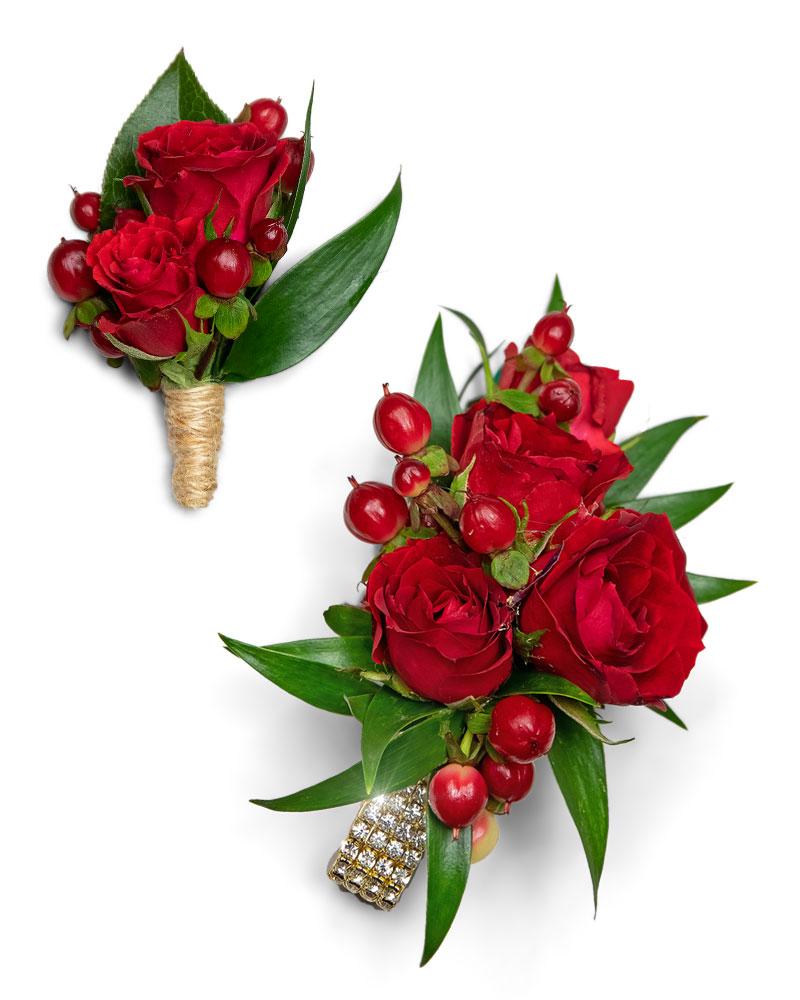 Crimson Corsage and Boutonniere Set