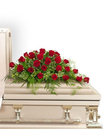 24 Red Roses Casket Spray