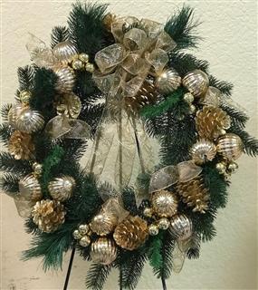 Gold Christmas Silk Wreath