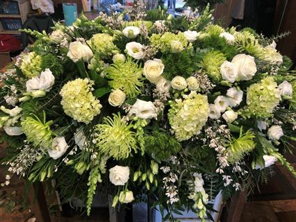 Green and White Casket Blanket