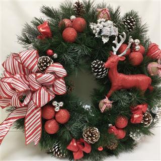 Red Ball Christmas Silk Wreath