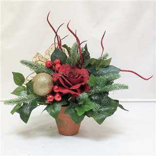 Red & Gold Christmas Silk Posie Pot