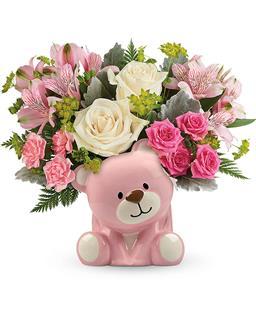 Teleflora's  Precious  Pink  Bear  Bouquet