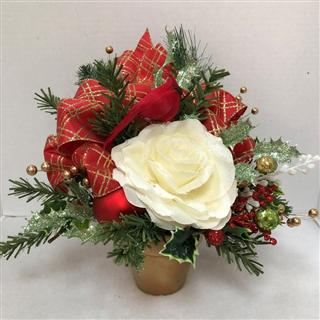 White Christmas Silk Posie Pot