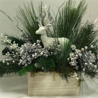 White & Silver Deer Silk Tabletop
