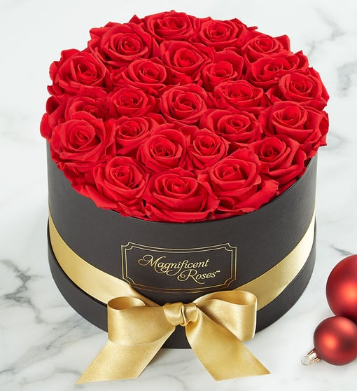 Magnificent Roses Preserved Gold Ribbon Roses