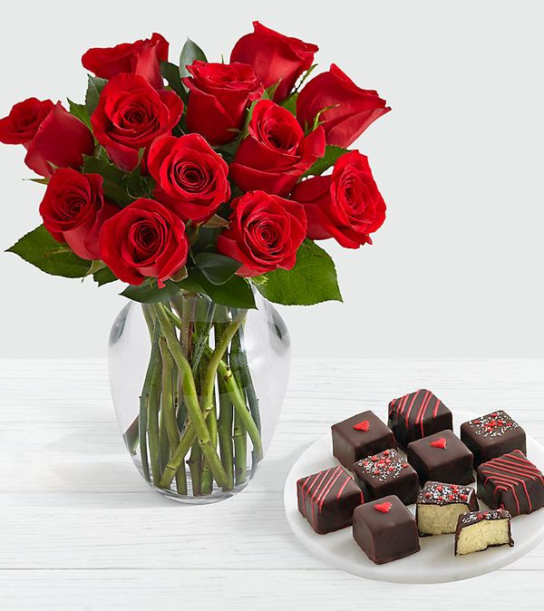 12 Red Roses with 9 Valentine's Day Cheesecake Bites