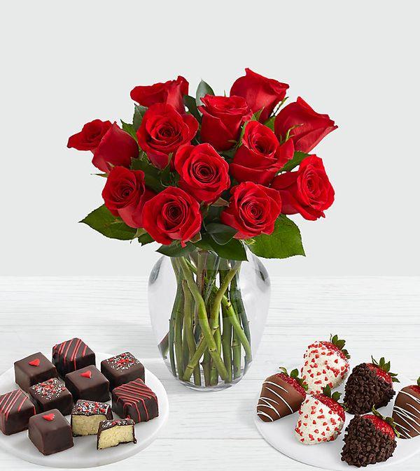 12 Roses, Valentine's Strawberries & Cheesecake Bites