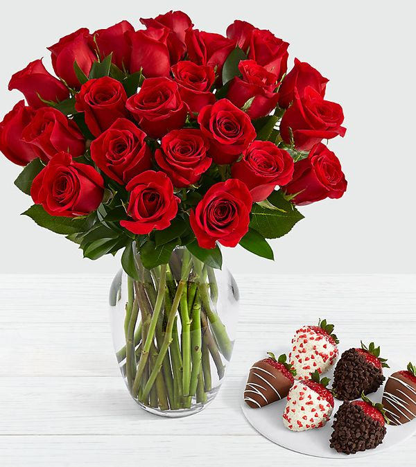 24 Long Stem Red Roses with 6 Valentine's Strawberries